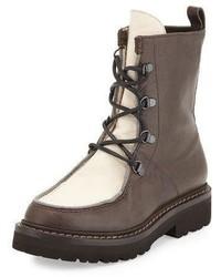 Brunello Cucinelli Monili Trim Leather Hiker Boot Brownivory