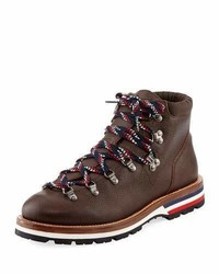 Moncler Peak Leather Lace Up Ankle Boot Dark Brown