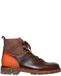 Etro Plaid Leather Hiking Boots