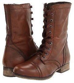 Steve Madden Shoes Troopa Leather Lace Up Combat Boots Brown New