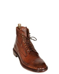 Officine Creative Washed Leather Lace Up Low Boots