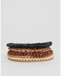 Asos Bead And Braid Leather Bracelet Pack