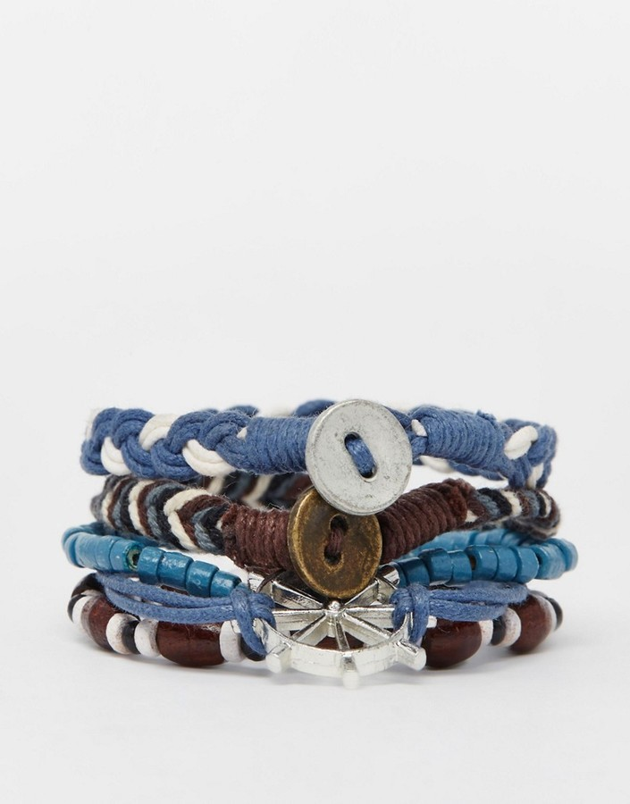 Asos Brand Leather Bracelet Pack With Nautical Charms In Blue