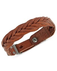 Fossil Bracelet Brown Braided Leather Buckle Bracelet