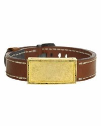 Todd Reed Gold Leather Raw Diamond Buckle Bracelet