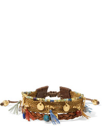Gold plated leather and multi stone bracelet brown medium 3747237