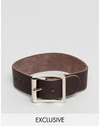 Reclaimed Vintage Inspired Leather Bracelet In Tan