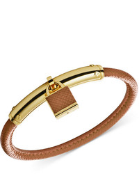 Michael Kors Michl Kors Gold Tone Leather Padlock Bangle Bracelet