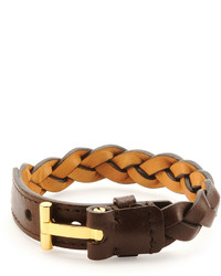 Tom Ford Nashville Braided Leather Bracelet Light Brown