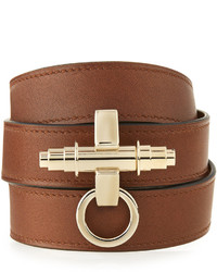 Givenchy Obsedia Leather Wrap Bracelet Brown