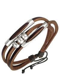 Overstock Genuine Leather Brown Beaded Fortune Bracelet