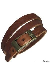 Overstock Genuine Leather Brown Serpent Bracelet