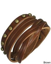 Overstock Genuine Leather Multi Wrap Bracelet