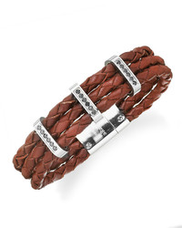 Sutton By Rhona Sutton Stainless Steel Braided Leather And Cubic Zirconia Three Row Bracelet