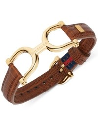 Tommy Hilfiger Gold Tone Brown Leather Belt Bracelet