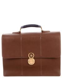 Stefano Ricci Crocodile Trimmed Leather Briefcase