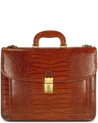 Front pocket croco stamped italian leather briefcase medium 142572