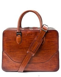 Magnanni Large Leather Briefcase Brown