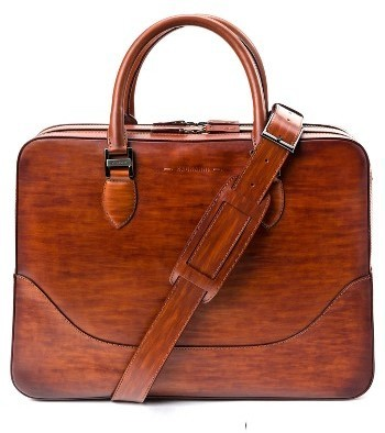 Magnanni Large Leather Briefcase Brown, $