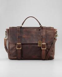 Logan antiqued flap briefcase medium 1039
