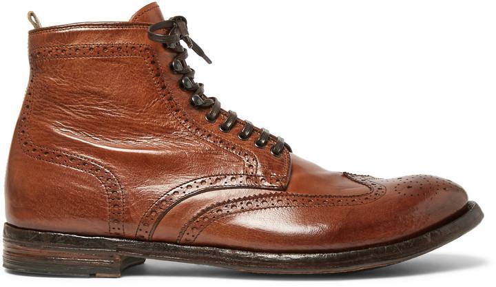 Original Designed Men Anatomia Leather Brogue Boots Brown - K7L409293