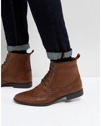 ASOS DESIGN Asos Brogue Boots In Tan Faux Leather