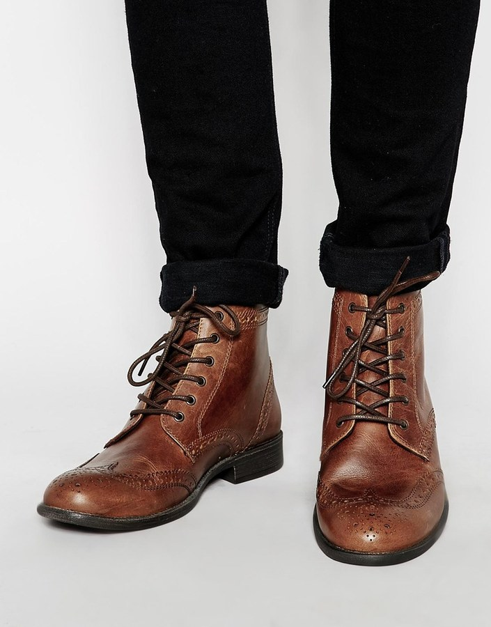 ASOS Brogue Boots in Leather OopQKyof3b