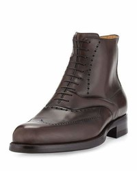 Atestoni wing tip leather lace up boot brown medium 843405