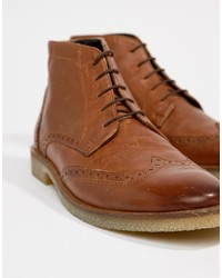 ASOS DESIGN Brogue Boots In Tan Leather With Sole