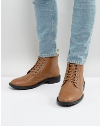 Brave Soul Brogue Boots In Tan