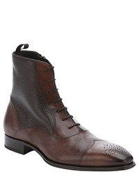 Mezlan Dark Brown Leather Cap Toe Lace Up Boots