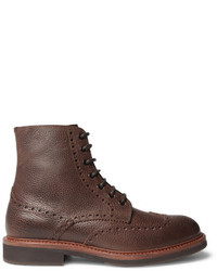 Brunello Cucinelli Full Grain Leather Wingtip Brogue Boots