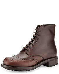 Gradient leather wing tip lace up boot brown medium 641063