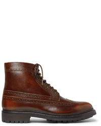 Grenson Sebastian Pebble Grain Leather Longwing Brogue Boots
