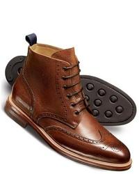 Charles Tyrwhitt Tan Stonebury Tumbled Brogue Boots