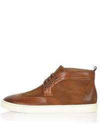 River Island Tan Suede And Leather Brogue Boots
