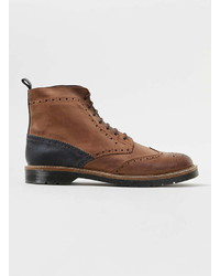 Topman Brown Leather Brogue Boots