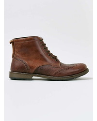 Topman Tan Leather Brogue Boots