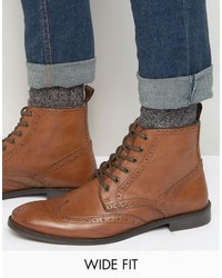 Asos Wide Fit Brogue Boots In Tan Leather