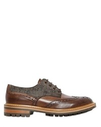 Brogue Houndstooth Leather Derby Shoes