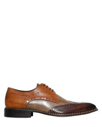 Brogue Leather Derby Lace Up Shoes