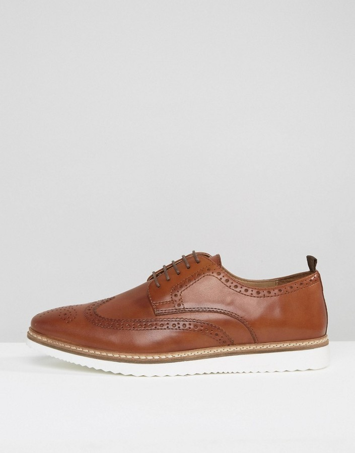 Asos Brogue Shoes In Tan Leather With