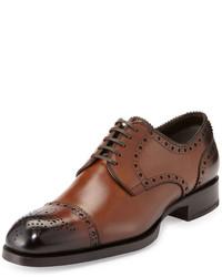Tom Ford Edward Med Cap Wing Tip Derby Shoe Brown