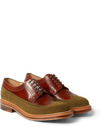 Grenson G Lab Burnished Leather And Suede Wingtip Brogues