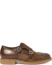 Brunello Cucinelli Leather Monk Strap Wingtip Brogues