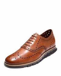 Zerogrand leather wing tip oxford british tan medium 765024
