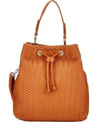 Deux Lux Chevron Woven Bucket Hobo Bag Brown