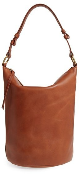 Madewell O Ring Leather Bucket Bag Red | Where to buy & how to wear
