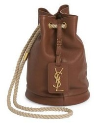 Saint Laurent Small Monogram Leather Bucket Bag