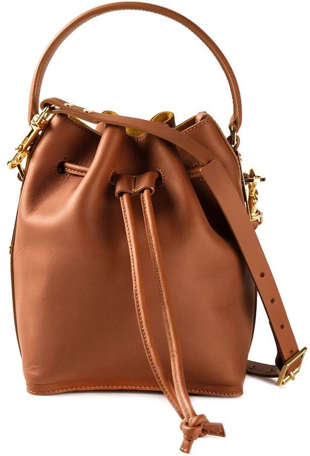 Brown Leather Bucket Bags Sophie Hulme Drawstring Shoulder Bag